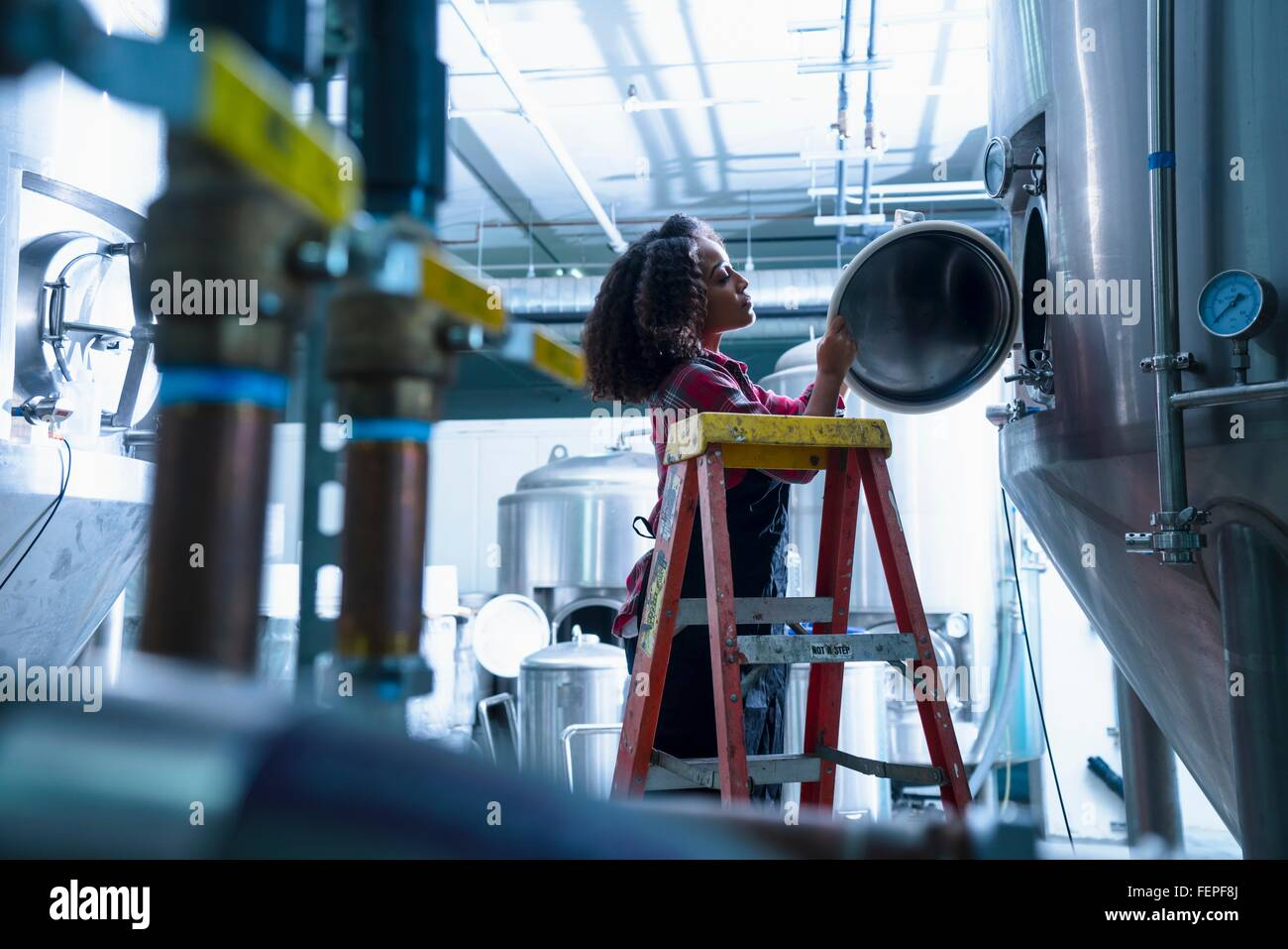 Mid adult woman in brewery on stepladder looking into conical fermentation tank Stock Photo