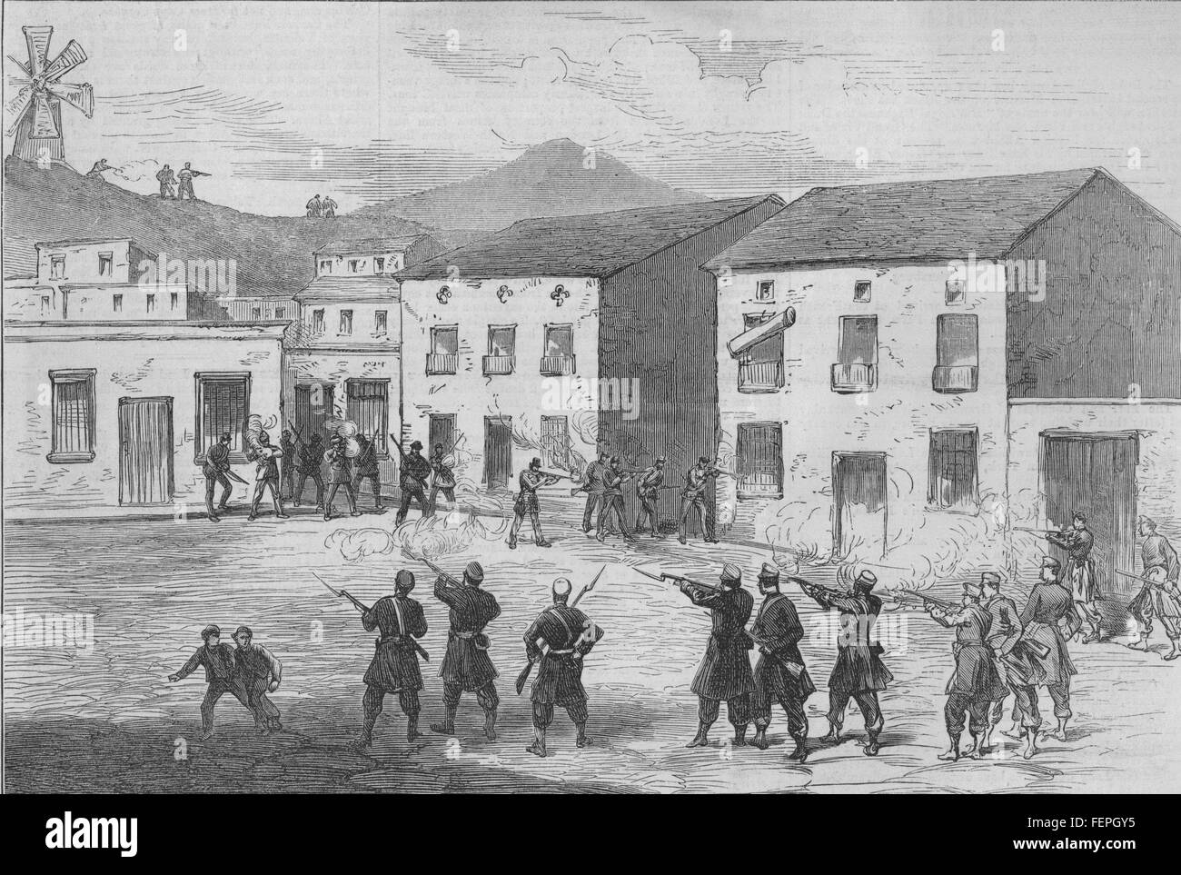 SPAIN Carabiniers resisting the Cartagena insurgents at Aguilas 1873. Illustrated London News Stock Photo