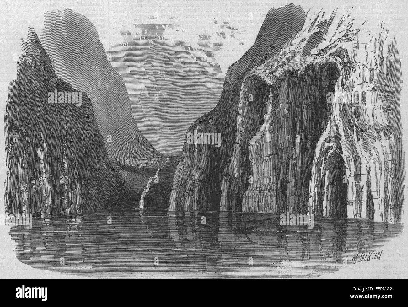 NEW ZEALAND Valley North of Milford Sound 1869. Illustrated London News - Stock Image