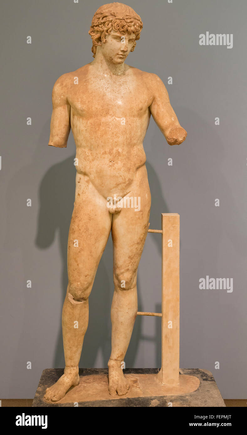 Delphi, Phocis, Greece.  Delphi Archaeological museum.  Cult statue of Antinoos or Antinous, circa 111-130 Bithynian - Stock Image