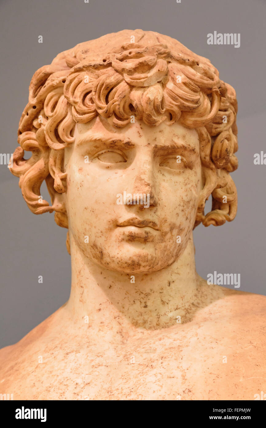 Delphi, Phocis, Greece.  Delphi Archaeological museum.  Detail of cult statue of Antinoos or Antinous, circa 111 - Stock Image