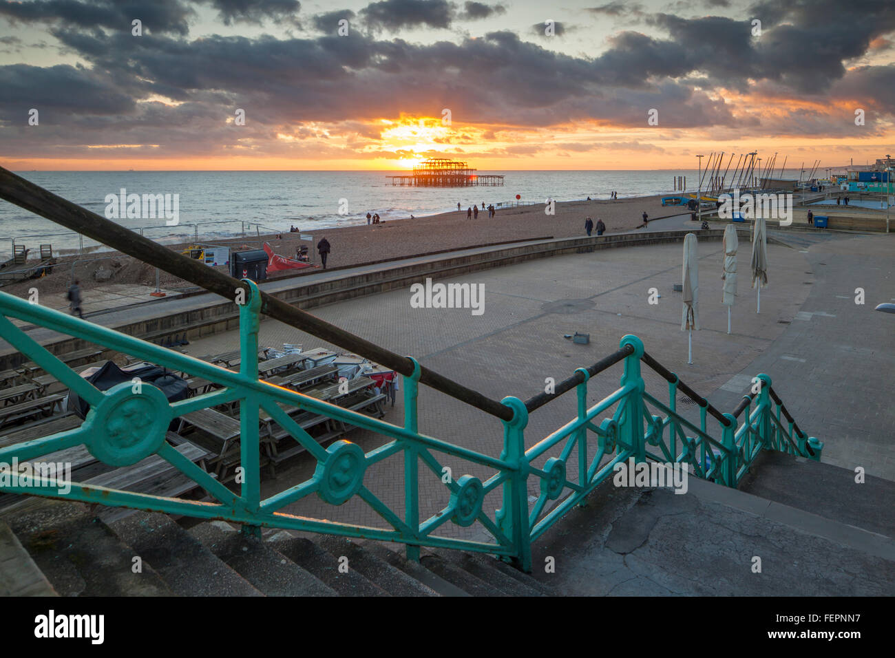 Winter sunset on Brighton seafront, East Sussex, England. Stock Photo