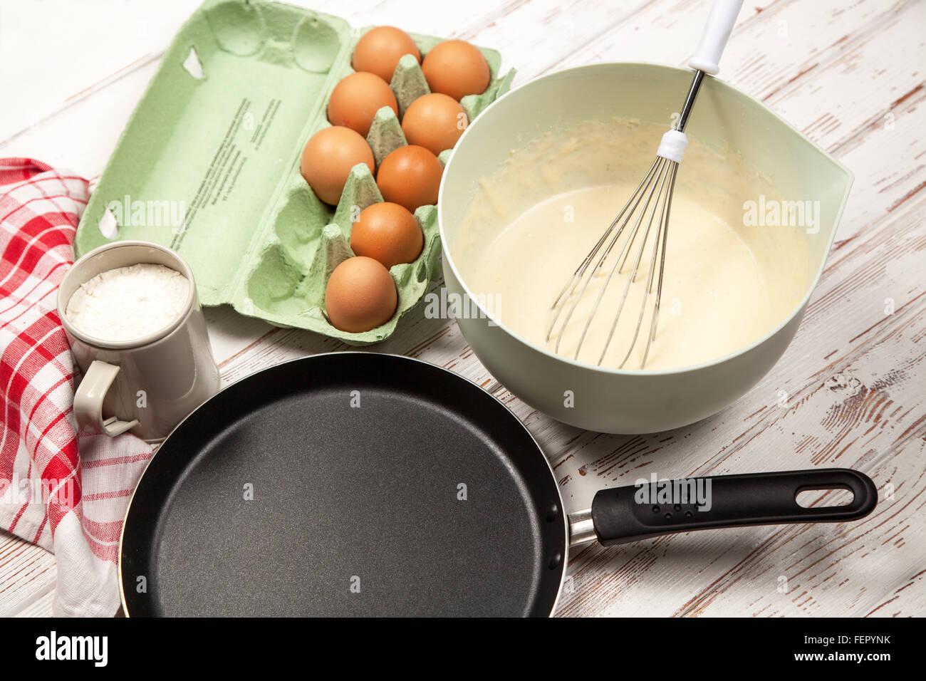 Preparing batter for pancakes Stock Photo