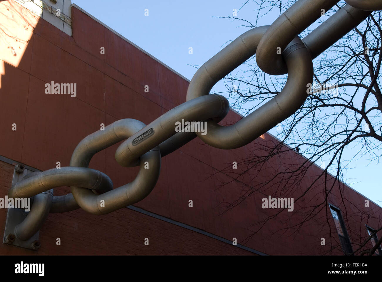 Giant chain 'Neverbust' Columbia South Carolina USA - Stock Image