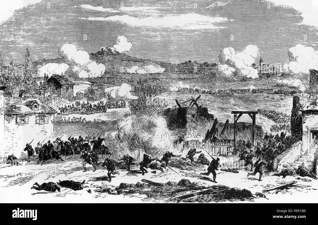 FRANCO-PRUSSIAN WAR 1870-1871  Fighting at Villejuif as part of the defence of Paris Stock Photo