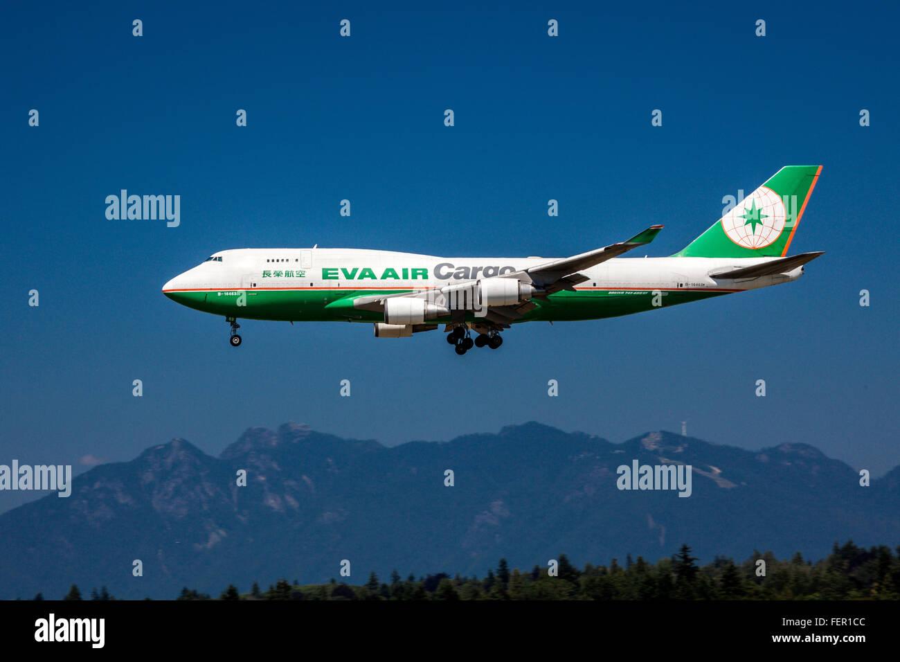 Boeing 747-400 SF. Eva Air Cargo. Landing at YVR, Vancouver. - Stock Image