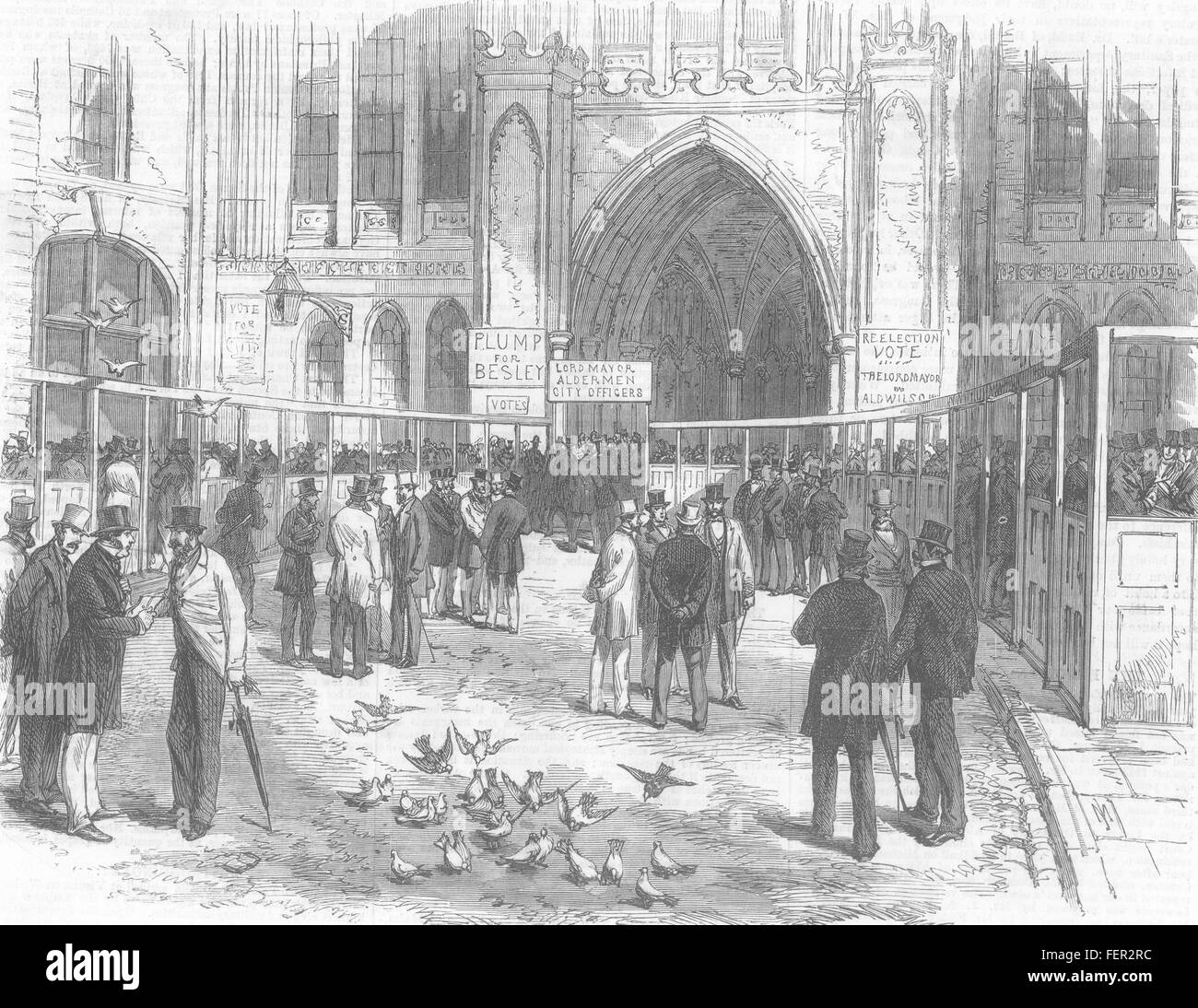 LONDON registration of the Livery in Guildhall Yard 1869. Illustrated London News - Stock Image