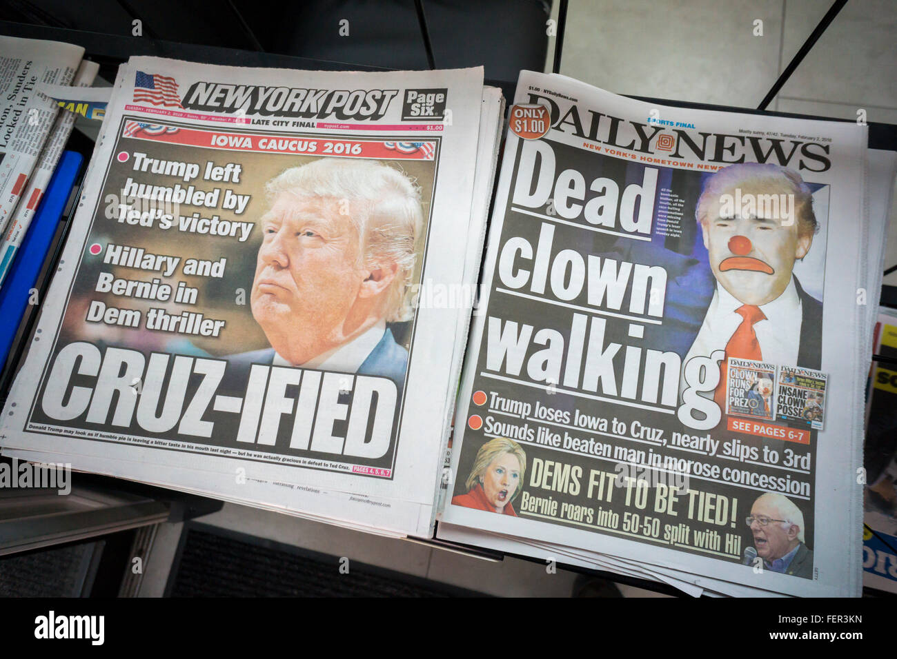 Headlines of the New York tabloid newspapers on Tuesday, February 2, 2016 report on Republican presidential candidate Stock Photo
