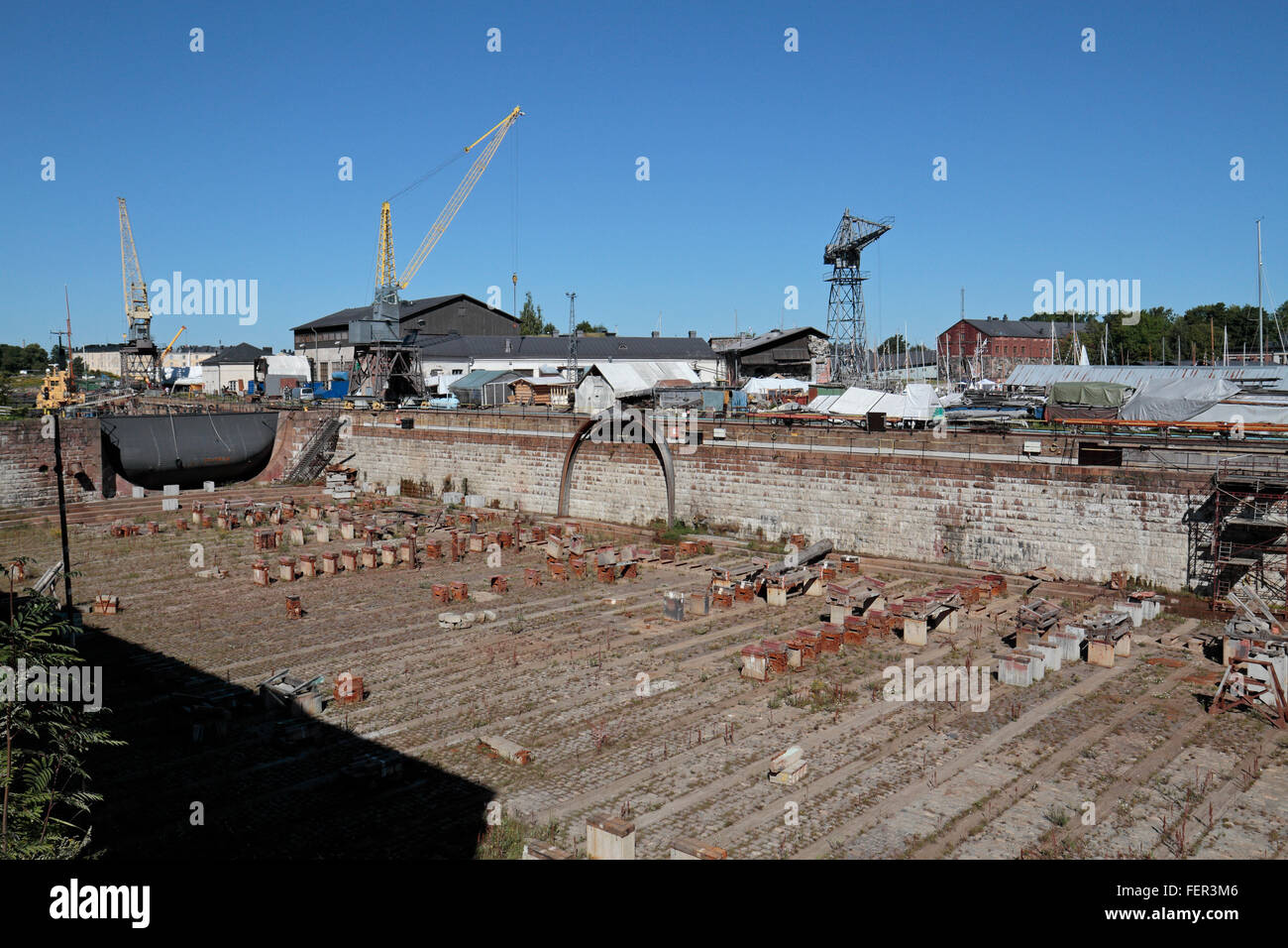 The dry dock on the fortress island of Suomenlinna, Helsinki, Finland. - Stock Image