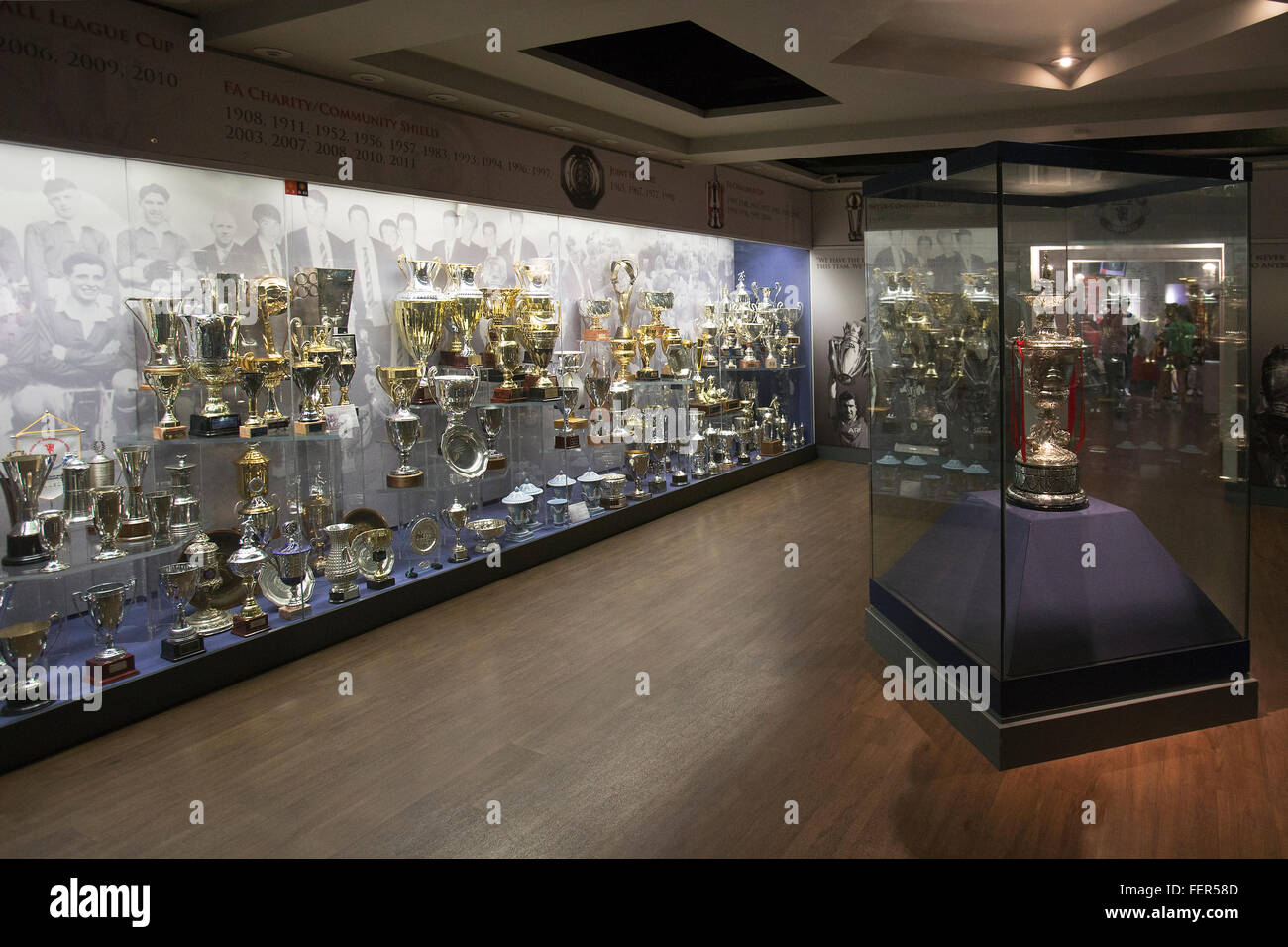 Trophy cabinet in the Trophy room at Old Trafford Stadium, home to Manchester United FC - Stock Image
