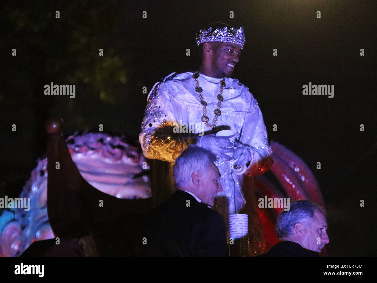 New Orleans, LOUISIANA, USA. 7th Feb, 2016. Actor Anthony Mackie rides as the Grand Marshal for the Krewe of Bacchus Stock Photo