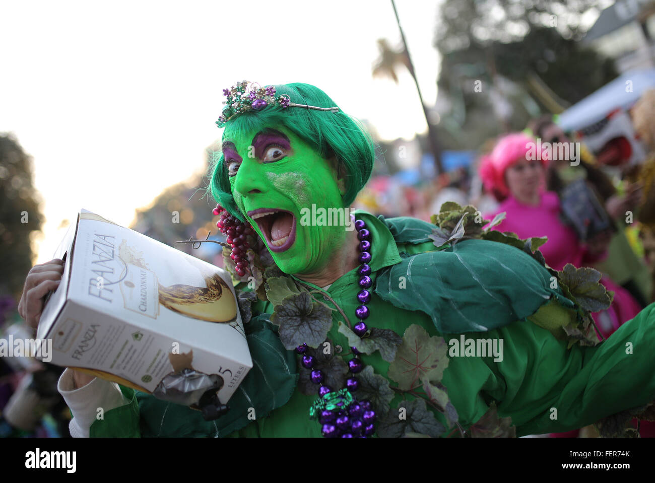 New Orleans, LOUISIANA, USA. 7th Feb, 2016. A costumed marcher before the Krewe of Bacchus Mardi Gras Parade on Stock Photo