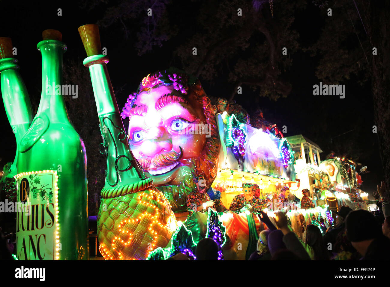 New Orleans, LOUISIANA, USA. 7th Feb, 2016. A float in the Krewe of Bacchus Mardi Gras Parade on February 07, 2016 Stock Photo