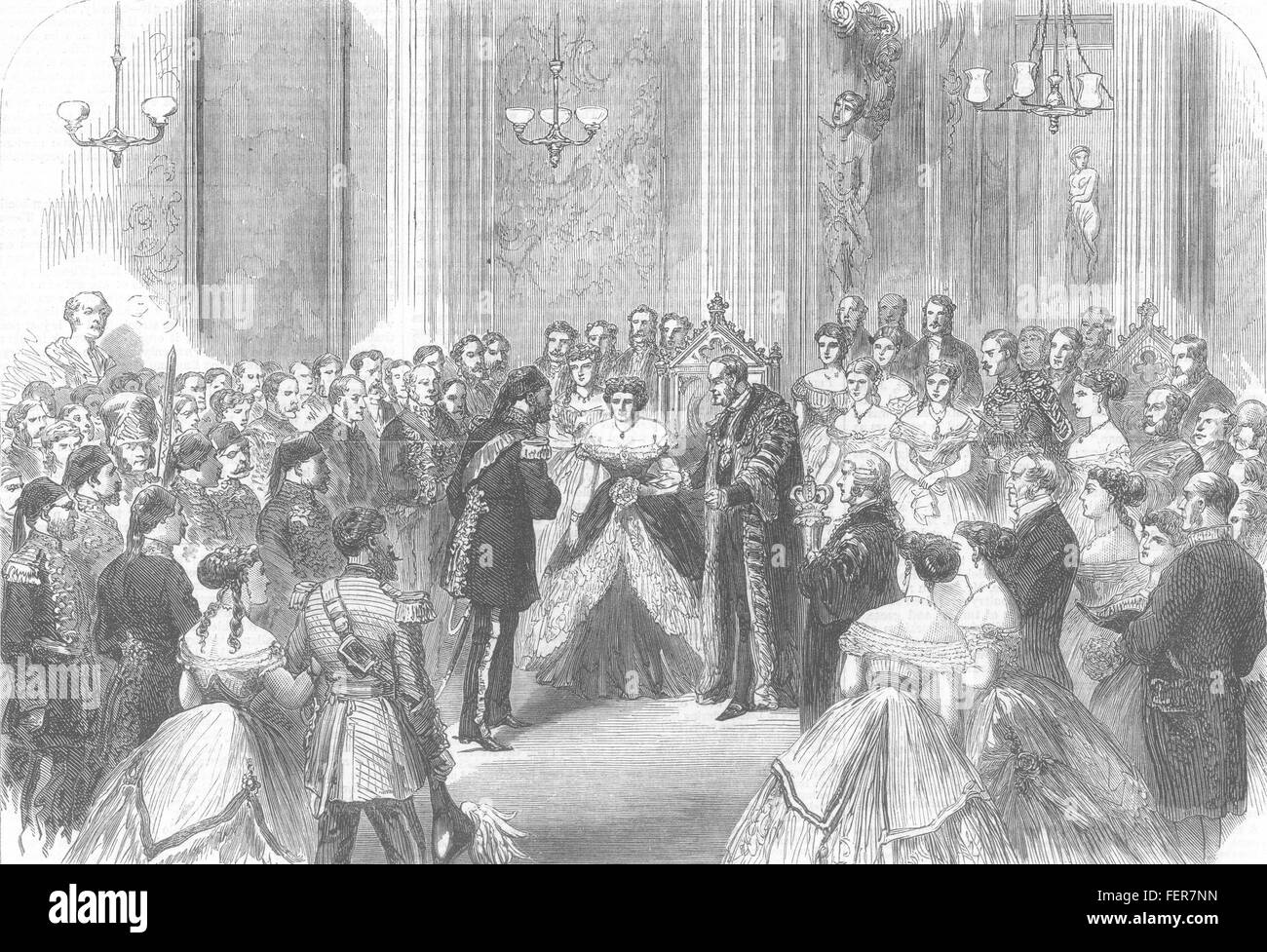 THE MANSION HOUSE Reception of the Viceroy of Egypt by the Lord Mayor 1867. Illustrated London News - Stock Image