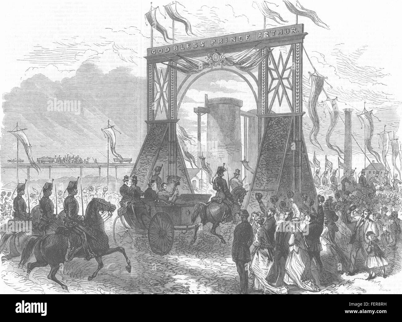 MIDDLESBROUGH Visit of Prince Arthur to Teeside Ironworks 1868. Illustrated London News - Stock Image