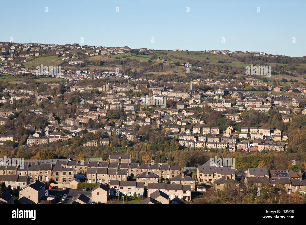 Golcar village in Huddersfield West Yorkshire on the slopes of the Colne Valley - Stock Image