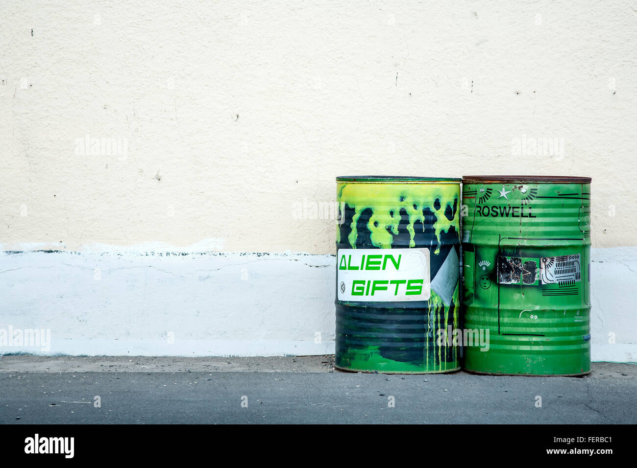 'Alien' garbage cans, Roswell, New Mexico USA - Stock Image