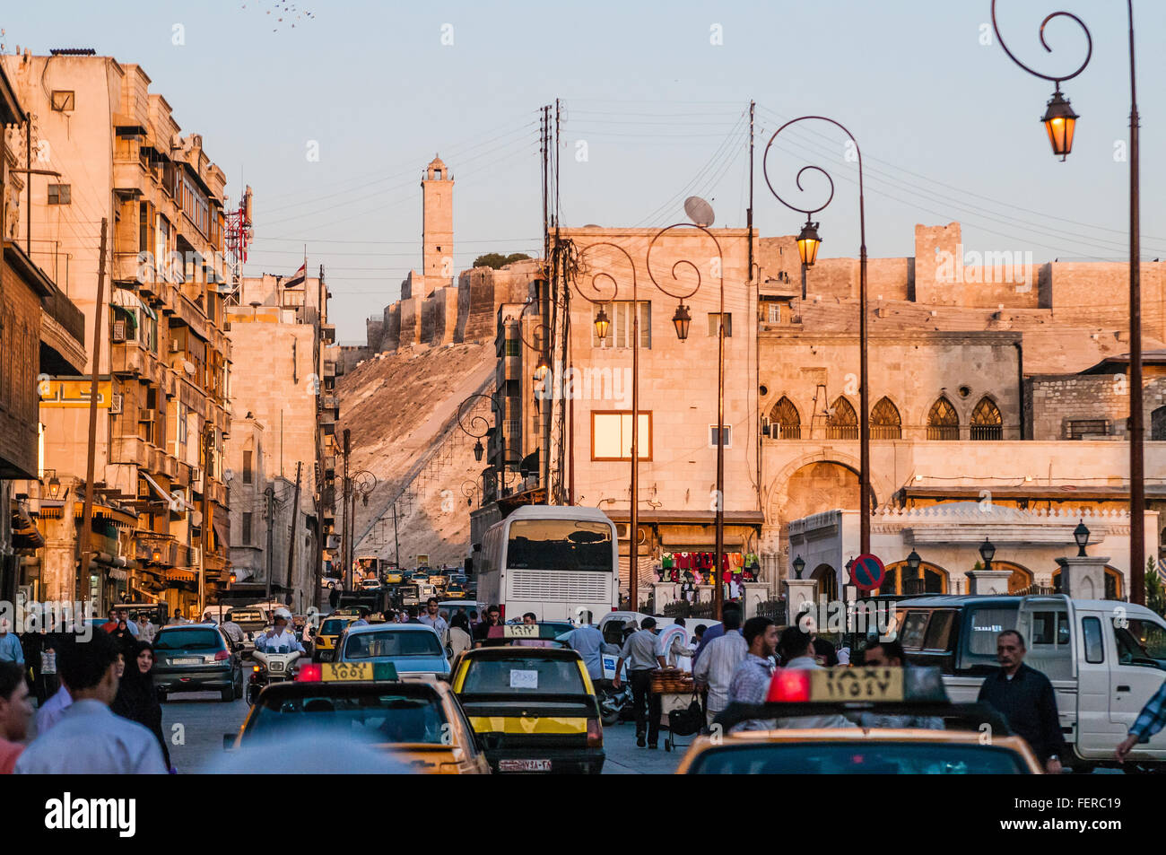 Busy Street Amidst Houses In Old Town - Stock Image