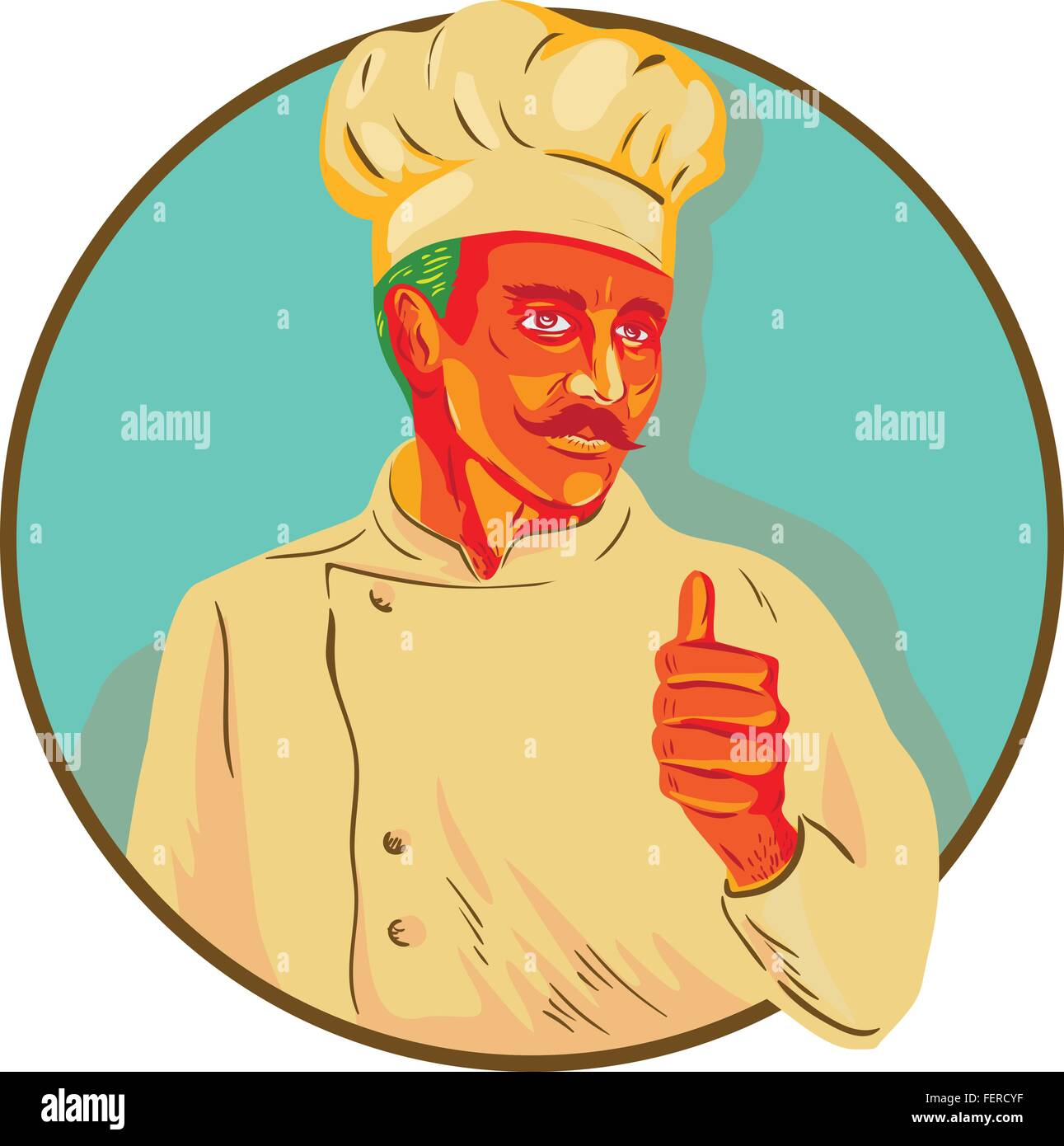 WPA style illustration of a chef with mustache doing a thumbs up viewed from the front set inside circle. - Stock Vector