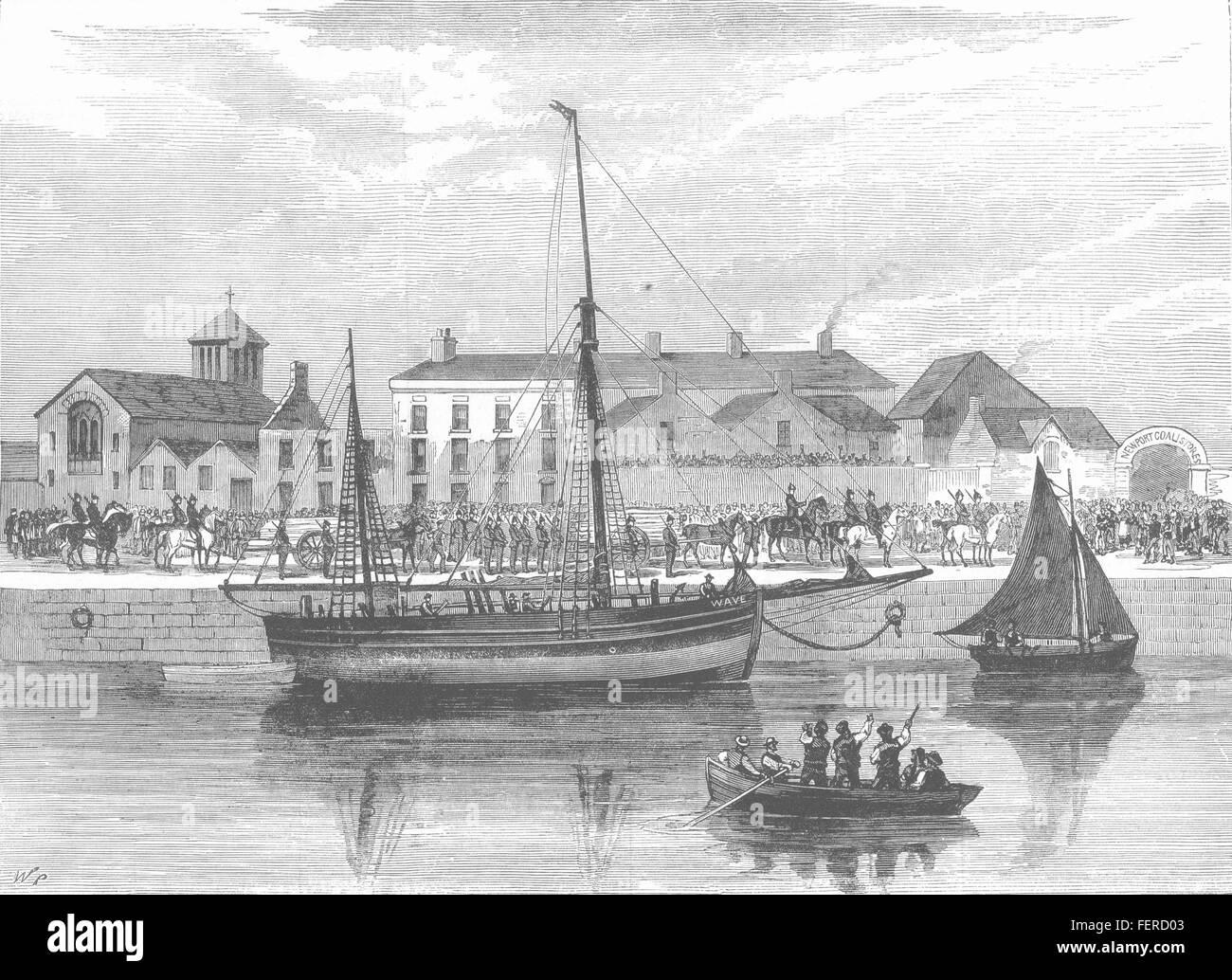 CORK The boycotted smack Wave, under police guard. Ireland 1881. Illustrated London News - Stock Image