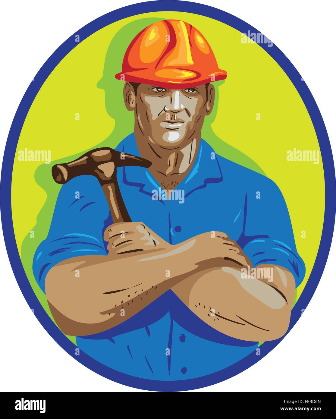 WPA style illustration of a construction worker wearing hardhat holding hammer with arms crossed viewed from front - Stock Vector