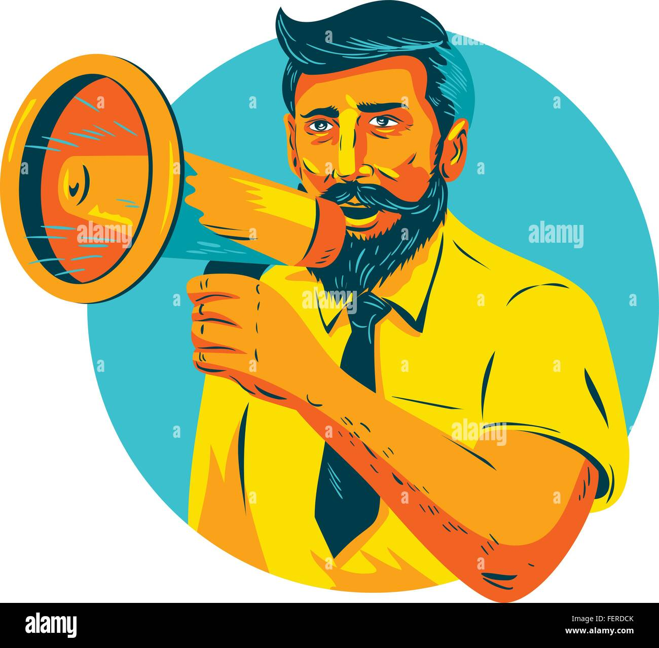 WPA style illustration of bearded hipster man holding megaphone viewed from front set inside circle on isolated - Stock Vector