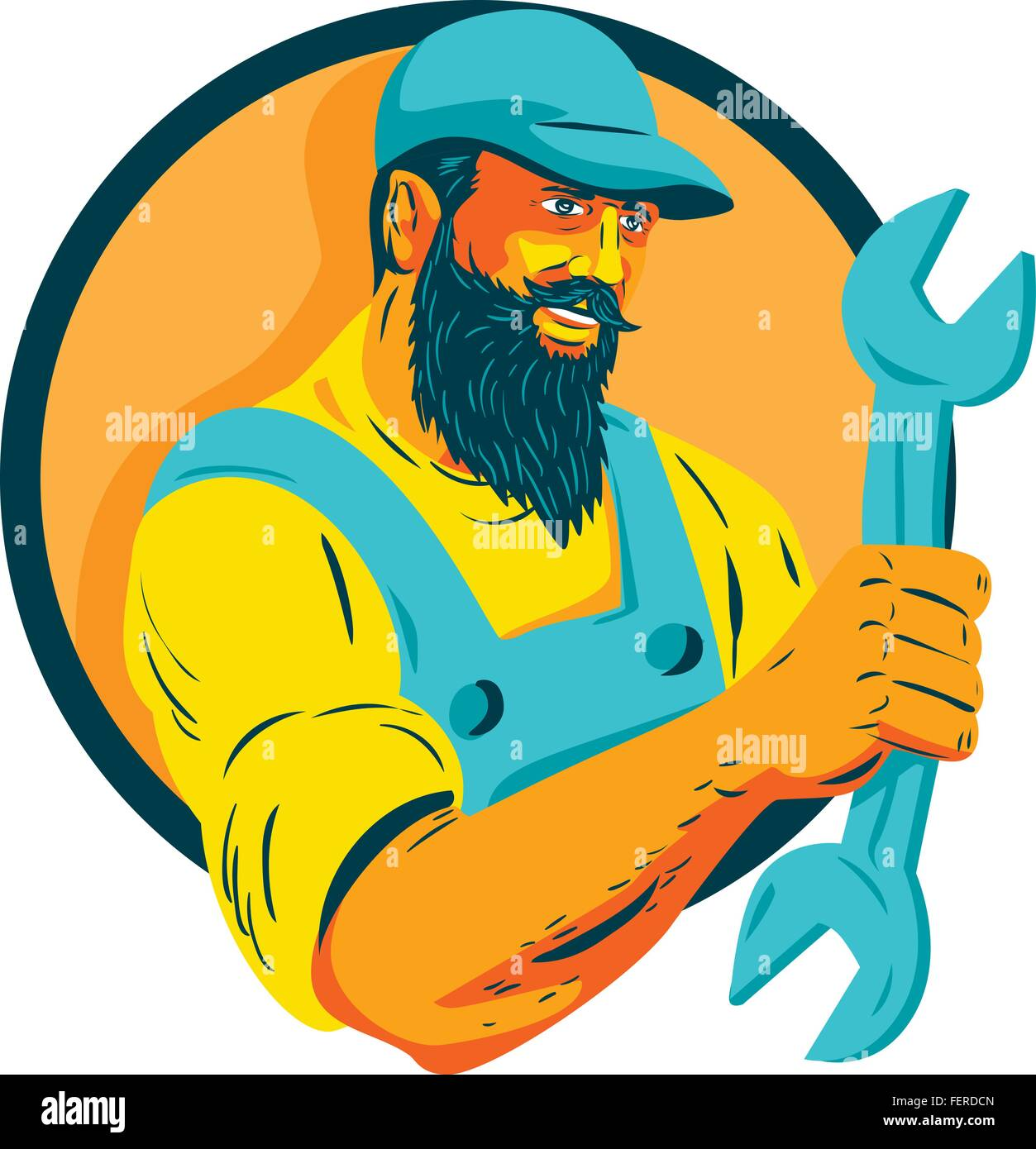 WPA style illustration of a bearded mechanic holding spanner looking to the side set inside circle on isolated background. - Stock Vector