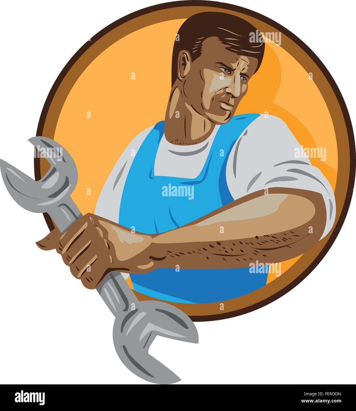 WPA style illustration of a mechanic worker looking to the side holding spanner wrench set inside circle on isolated - Stock Vector