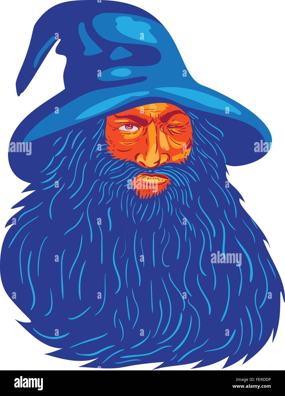 WPA style illustration of Norse mythology god, Odin with beard, hat and blind on one eye viewed from front set on - Stock Vector