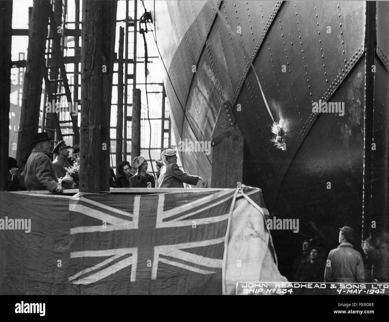 Launch of the cargo ship 'Kelmscott' Launch of the cargo ship 'Kelmscott' - Stock Image