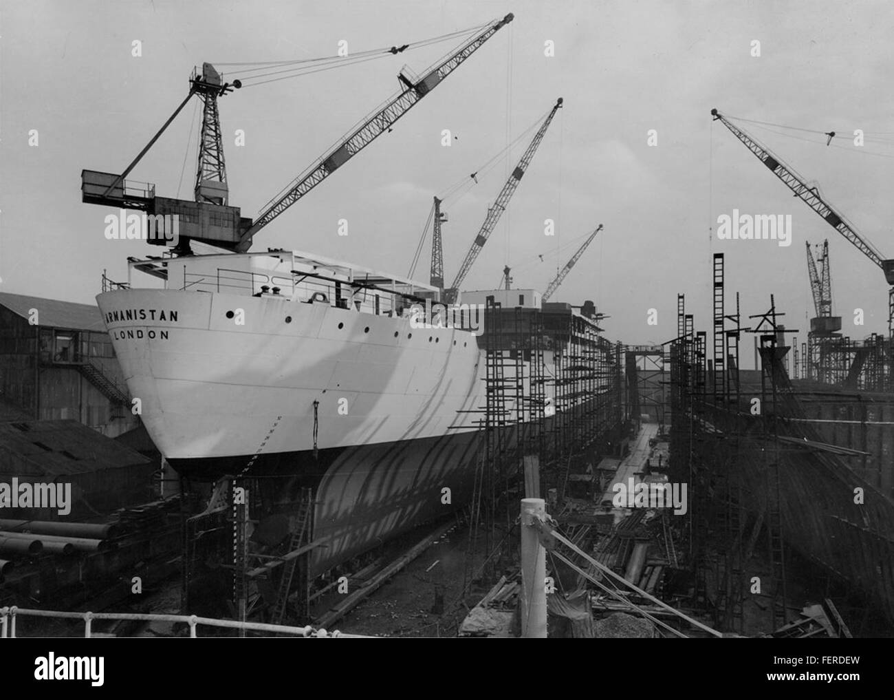 Stern view of the cargo ship 'Armanistan' Stern view of the cargo ship 'Armanistan' - Stock Image