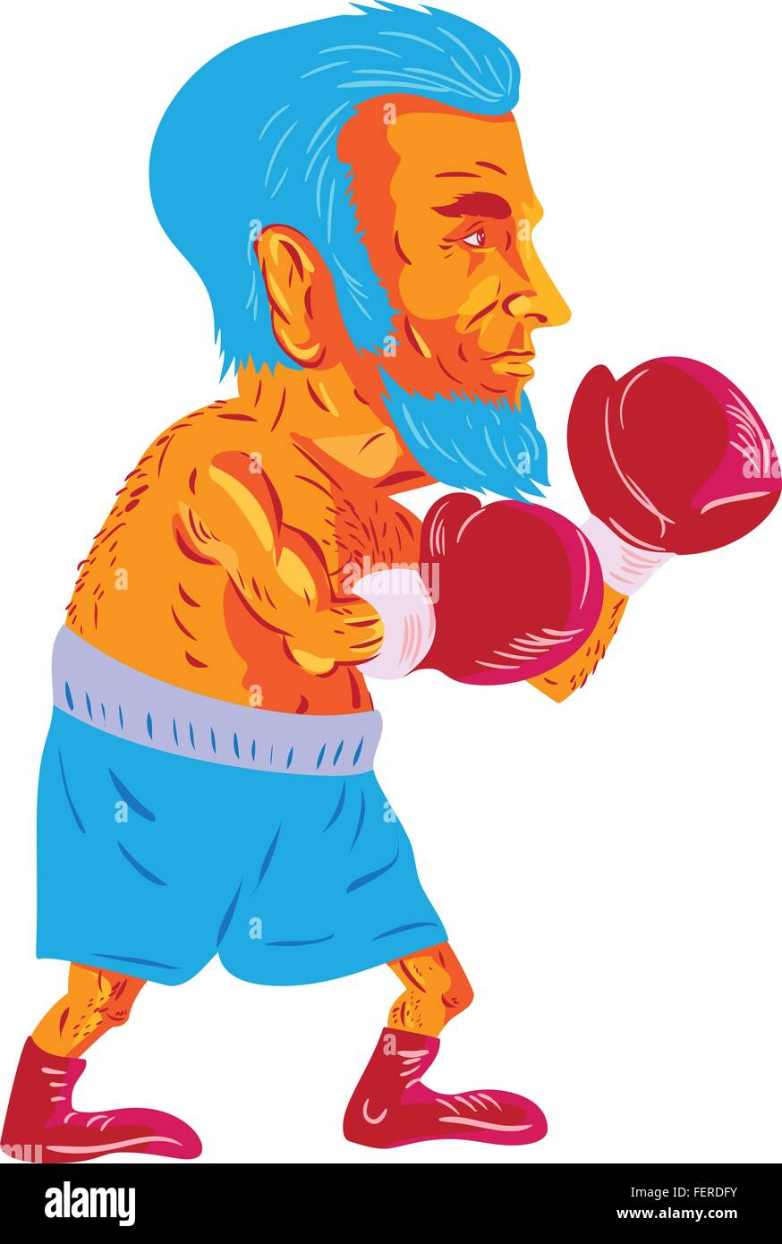 WPA style illustration of a bearded boxer boxing viewed from the side set on isolated white background done in cartoon - Stock Vector