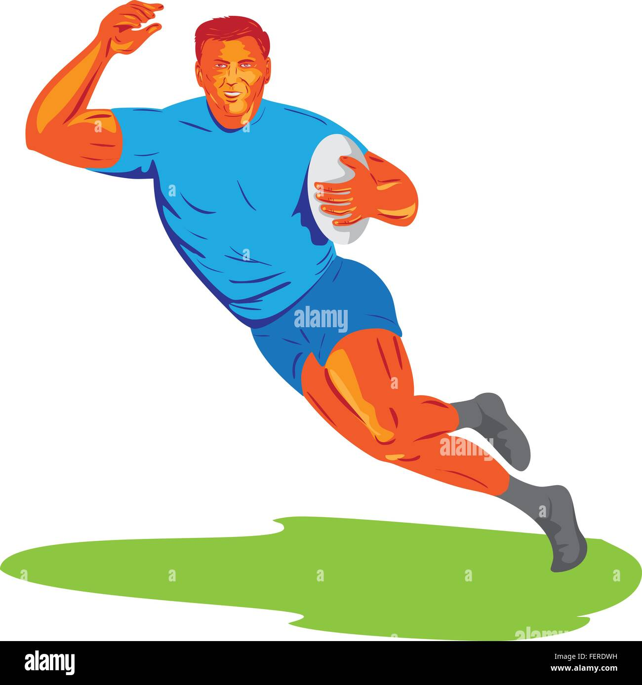 WPA style illustration of a rugby player with ball running viewed from front set on isolated white background. - Stock Vector