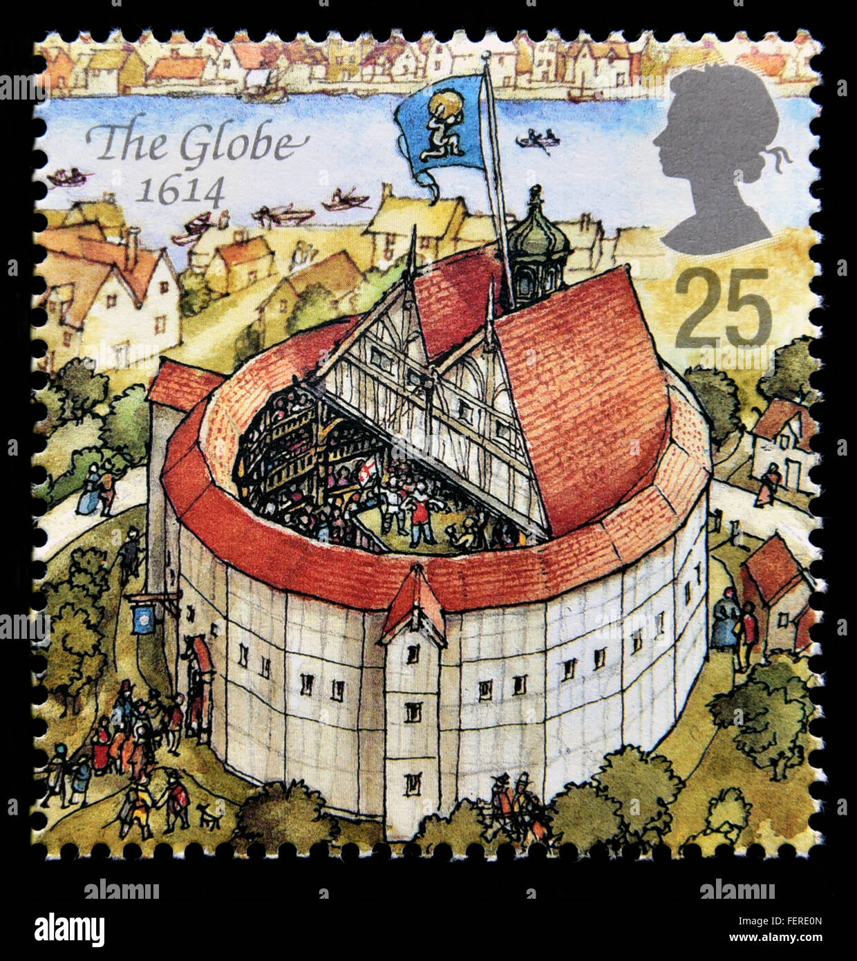 Postage stamp. Great Britain. Queen Elizabeth II. 1995. Reconstruction of Shakespeare's Globe Theatre. The Globe - Stock Image