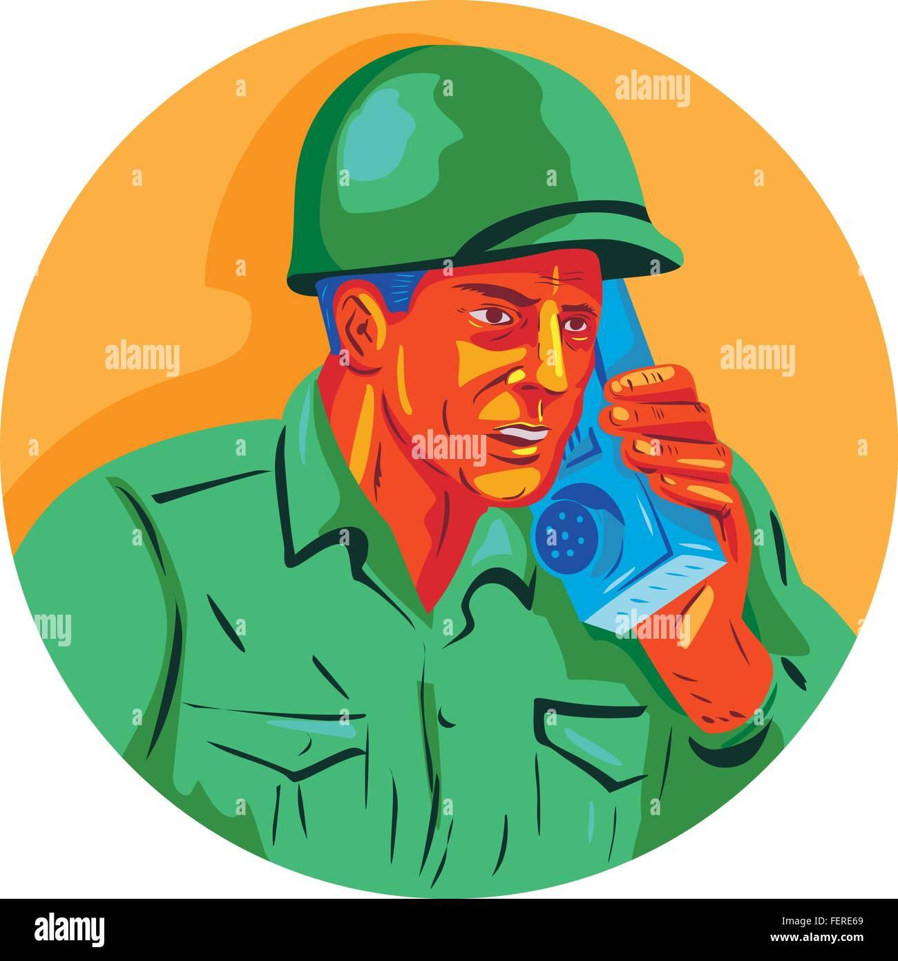 WPA style illustration of a World War two American soldier serviceman talking on field radio walkie-talkie viewed - Stock Vector