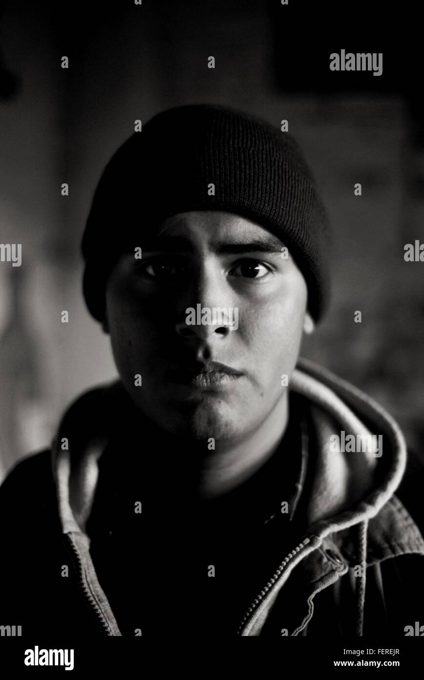 Portrait Of Man Wearing Knit Hat - Stock Image