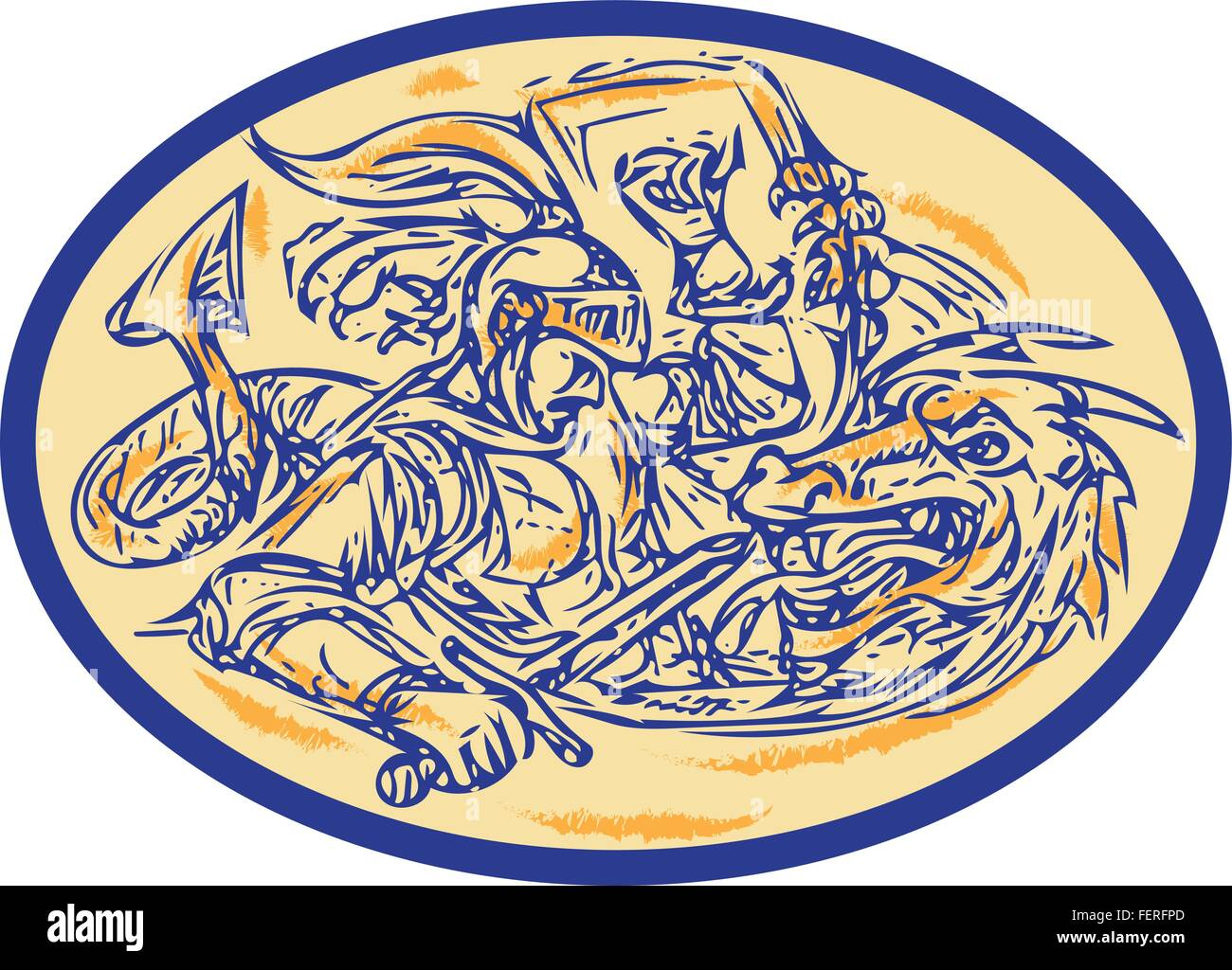Drawing sketch style illustration of St George fighting dragon set inside oval shape. - Stock Vector