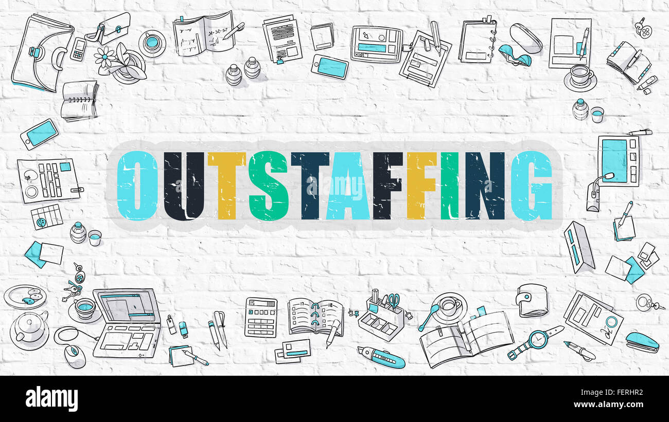 Outstaffing on White Brick Wall. - Stock Image