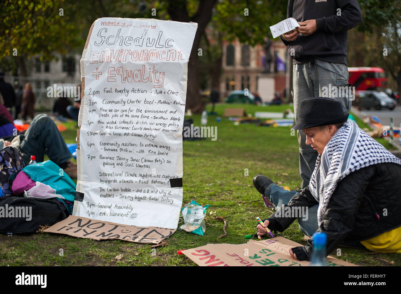 Occupy Parliament Square Manifesto and placard-making, London - Stock Image