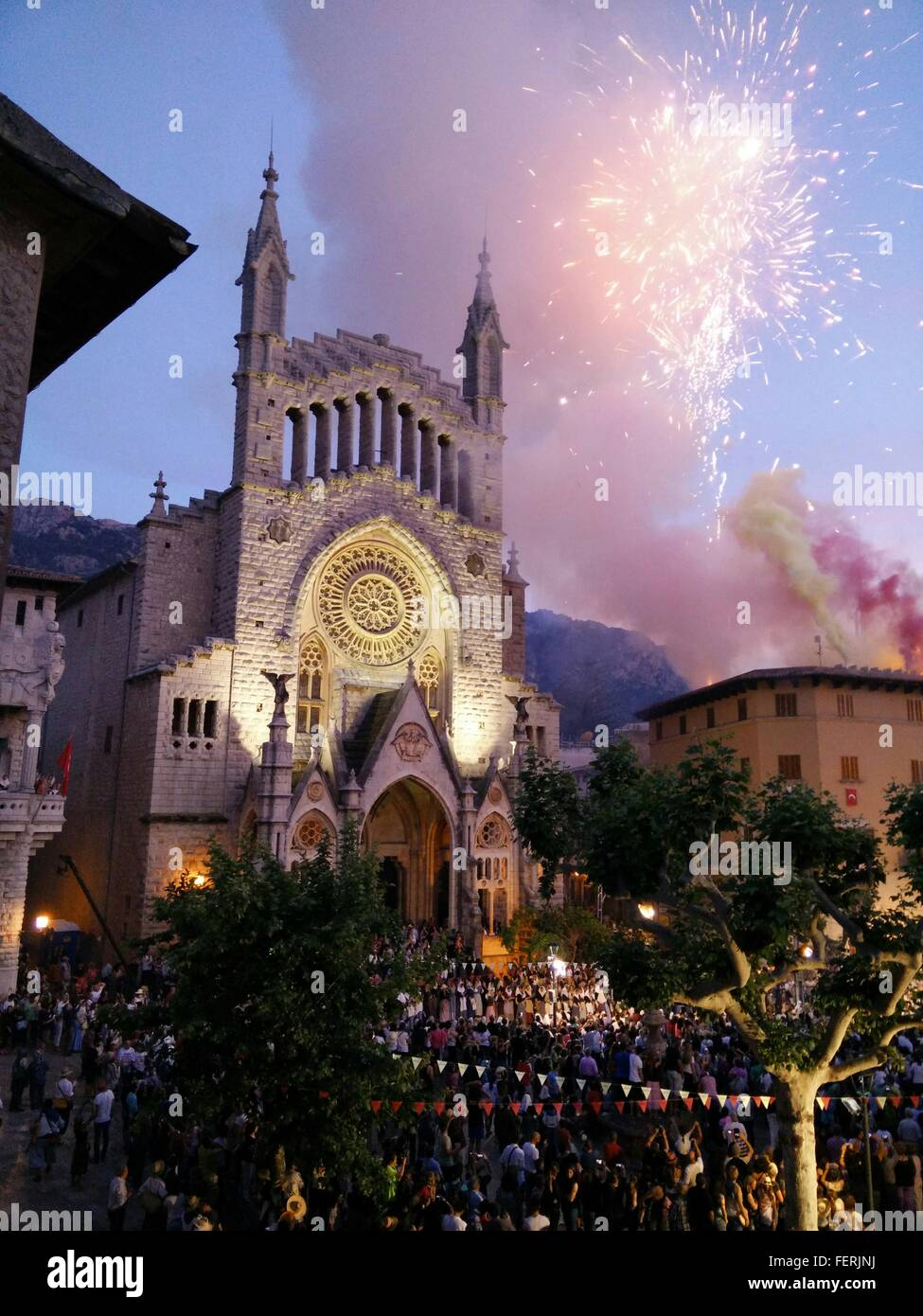 Firework Display At Sent Barwomen Church - Stock Image