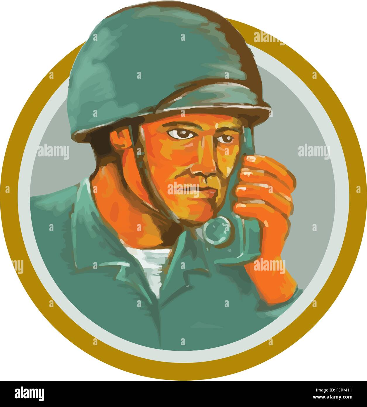 Watercolor style illustration of an american soldier serviceman military calling on radio set inside circle on isolated - Stock Vector