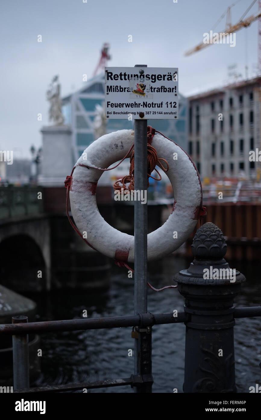Life Belt Tied On Bridge - Stock Image