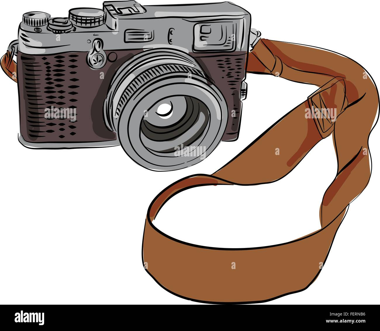 Drawing sketch style illustration of a vintage camera with srap viewed from front set on isolated white background. Stock Vector