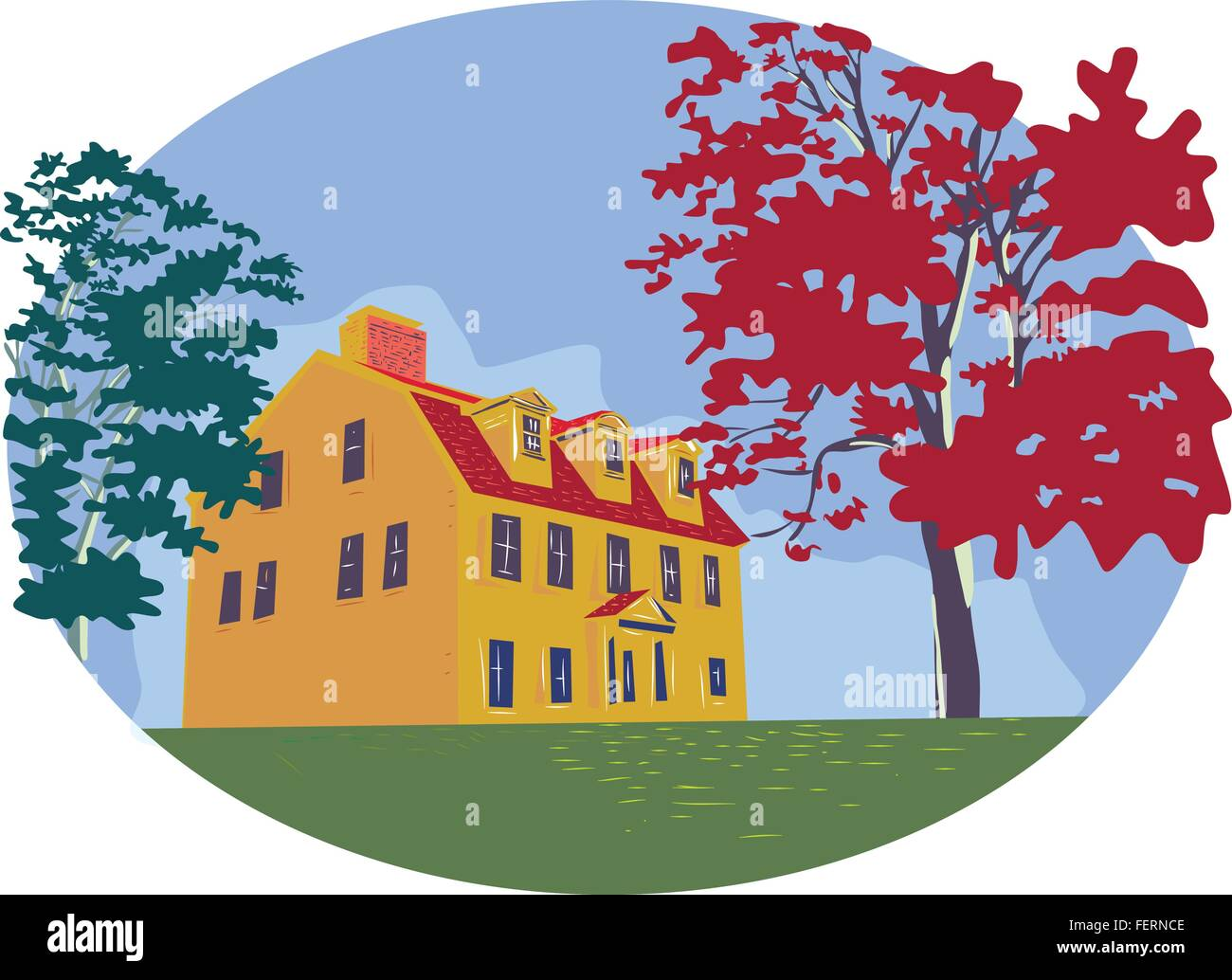 WPA style illustration of a colonial house with trees set inside circle on isolated background. - Stock Vector