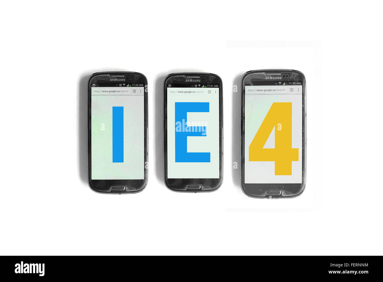 IE4 on the screens of smartphones photographed against a  white background. - Stock Image