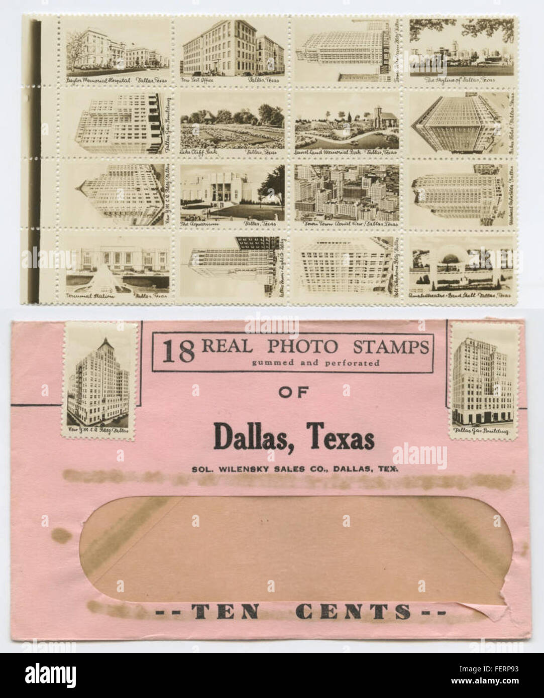 18 Real Photo Stamps, gummed and perforated, Dallas, Texas - Stock Image