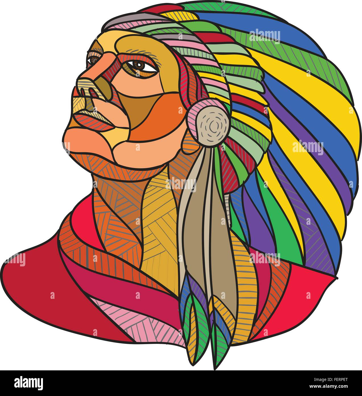 Drawing sketch style illustration of a native american indian chief warrior with headdress looking to the side set - Stock Image
