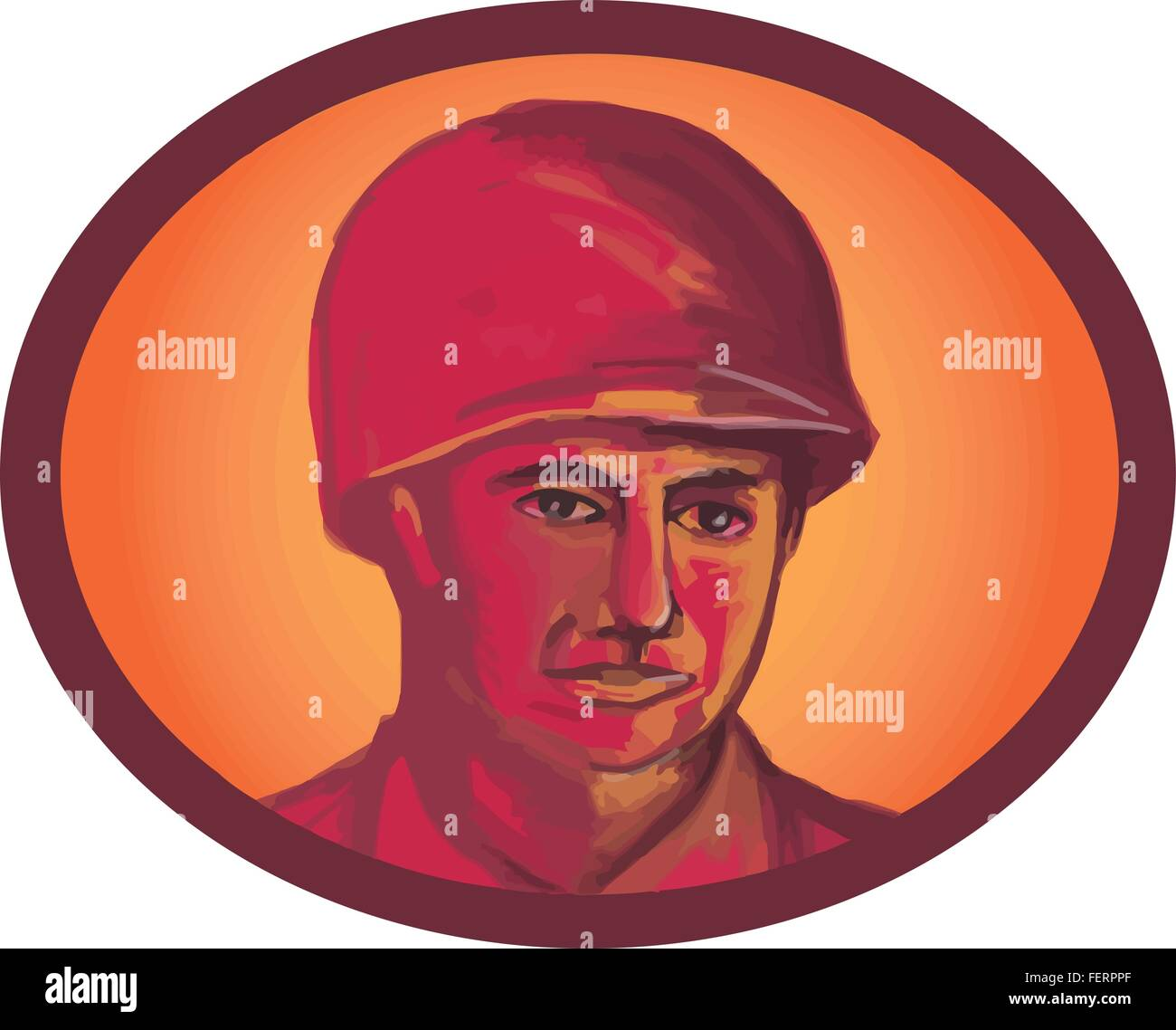 Illustration of a World War two American soldier serviceman head facing front set inside oval shape on isolated - Stock Vector