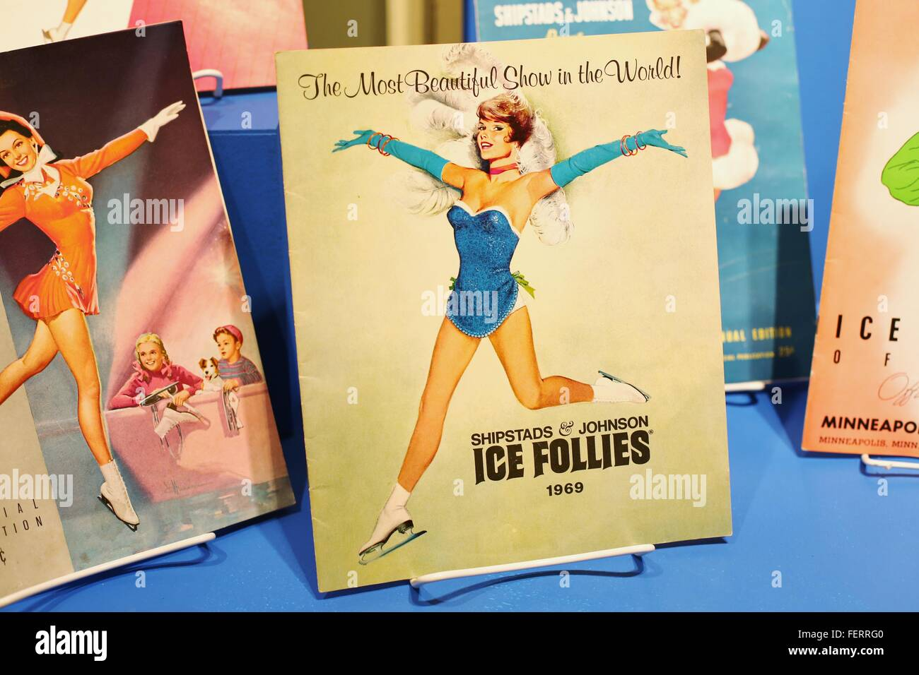 Vintage programs from Shipstads and Johnson ice follies, on display at the Hennepin History Museum in Minneapolis, - Stock Image