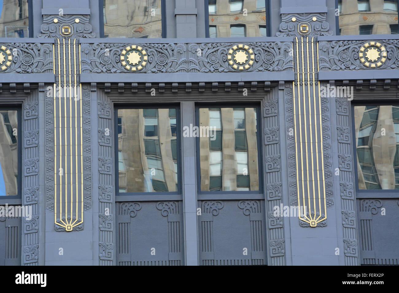 Art Deco terracotta building facade along Wacker Drive in Chicago Illinois. - Stock Image